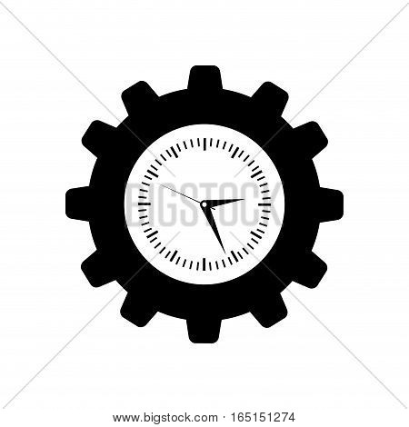 Clock with gear piece icon vector illustration graphic design
