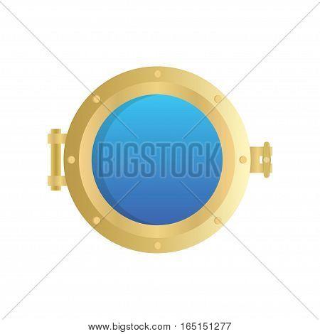 Porthole of ship isolated on white background. vector illustration