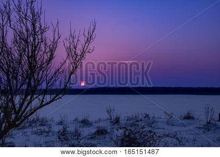 Fantastic Evening Winter Landscape. Dramatic Overcast Sky. Creative Collage. Beauty World.