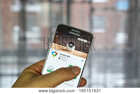 MONTREAL CANADA - DECEMBER 23 2016 : Google wifi application on Samsung S7 scree. The Google Wifi app lets to control Google Wifi points or OnHub right from mobile device