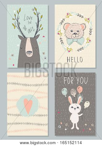 Romantic and love cards with cute animals in vintage style. Hand-drawn illustration with deer bear and hare.