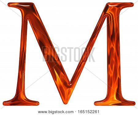 Uppercase Letter M - The Extruded Of Glass With Pattern Flame, Isolated On White Background