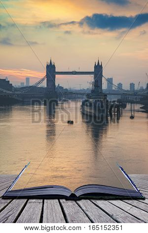 Golden Autumn Sunrise Over Tower Bridge In London Coming Out Of Pages Of Book