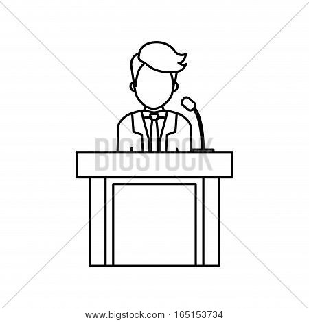 lawyer speaking in court icon vector illustration graphic design