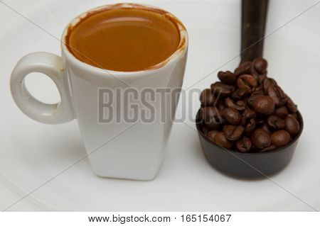 hot cup of espresso on a white background,