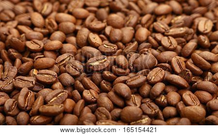 Roasted Arabica Coffee Beans Background High Angle