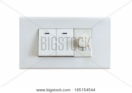 Light Switch On Wall. Isolated On White Background With Copy Space