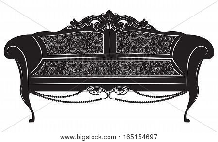 Vintage Baroque Imperial sofa. French Luxury rich carved ornaments furniture. Vector Victorian Royal Style decorated upholstery