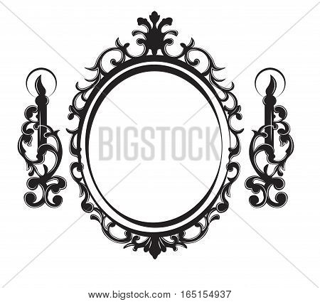 Vintage Frame with lamps. Baroque Mirror. Vector rich ornamented decor. French Luxury carved details. Vector Victorian wealthy Style structure