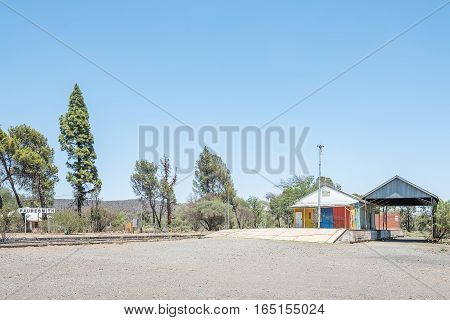 The train station in Fauresmith a small town in the Free State Province of South Africa. No trains use this railroad anymore