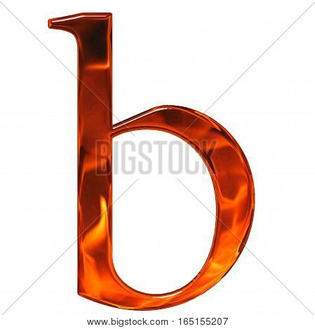 Lowercase Letter B - The Extruded Of Glass With Pattern Flame, Isolated On White Background