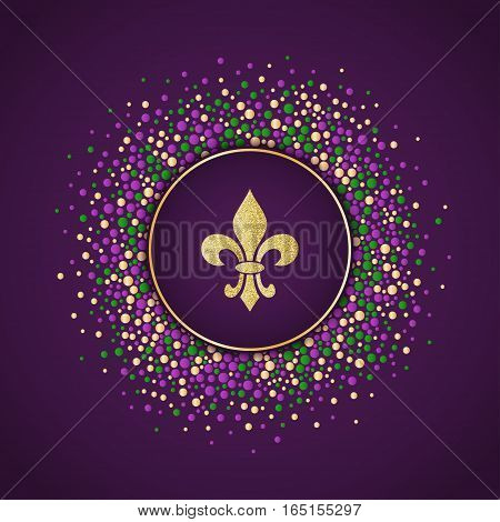 Mardi Gras holiday background. Round dotted frame with golden glitter fleur de lis. Vector template suitable for greeting cards invitations posters prints. EPS10.