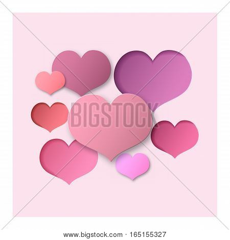 Pink Abstract Background Hearts for a Valentine Day. Can be used for Love Letter Card Valentines day Celebration design etc. Scope and Clipped Depth on Paper