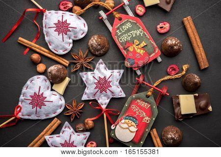 Christmas Decoration, White And Black Chocolate, Sleds, Anise, Cinnamon, Truffles