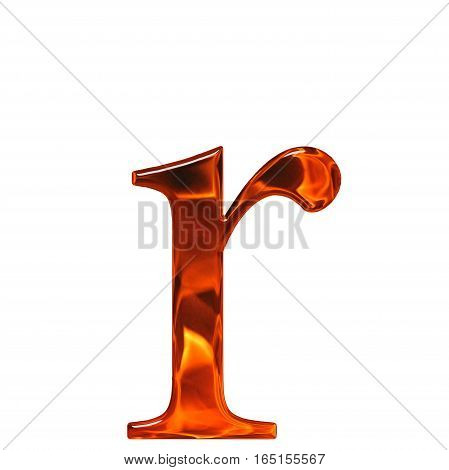 Lowercase Letter R - The Extruded Of Glass With Pattern Flame, Isolated On White Background