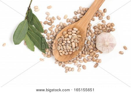 Carioca Kidney Beans With Bay Leaves isolated on white background