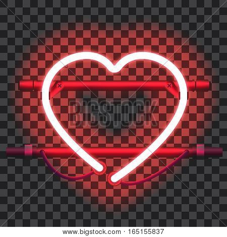 Glowing red neon heart with holders, brackets and wires isolated on transparent background. Shining and glowing neon effect. Valentines heart. Love and wedding symbol. Vector illustration.