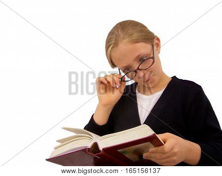 Cute Young Girl Reading Book Over Her Glasses