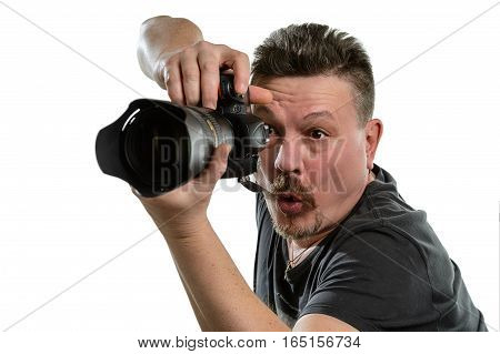 Portrait photographer while working on an isolated white background