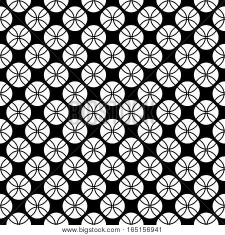 Vector seamless pattern, black & white repeat geometric texture. Simple abstract monochrome illustration, endless contrast background. Design element for prints, textile, fabric, cover, digital, web