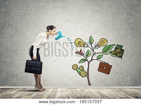 Attractive businesswoman presenting investment and financial growth concept