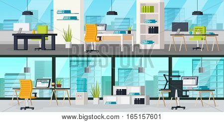 Office interior horizontal banners with  furniture accessories and several workplaces vector illustration