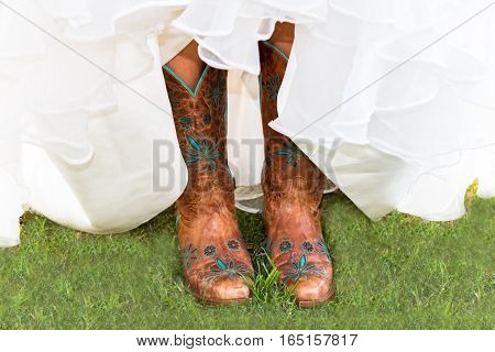 Beautiful Boots of a Woman With Wedding Dress