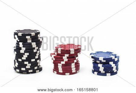 Colorful poker chips on white background with copy space. Macro with shallow dof.