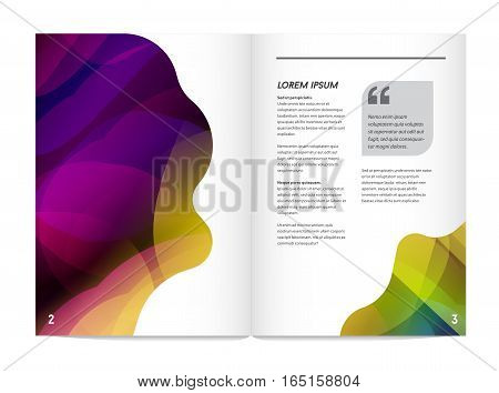 Visual identity with letter logo elements bright gradients blend style. Brochure inside pages template mockup for business with Fictitious name