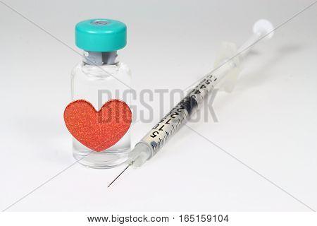 syringe, injector and drug. Useful for medical.