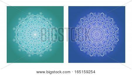 Ethnic Psychedelic Fractal Mandala Vector Meditation looks like Snowflake Set