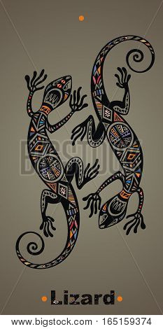 Gecko lizard in in tattoo style. Lizard illustration