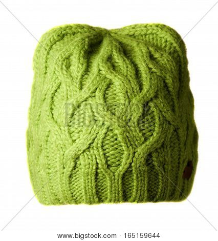 Women's Hat . Knitted Hat Isolated On White Background.light Green  Hat