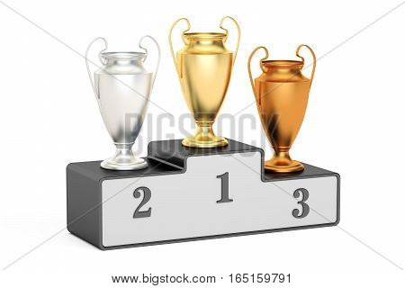 Golden silver and bronze trophy cups on black pedestal 3D rendering isolated on white background
