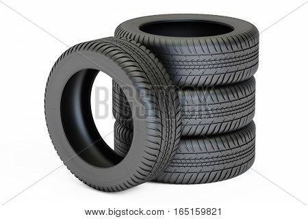 Stack of automobile tires 3D rendering isolated on white background