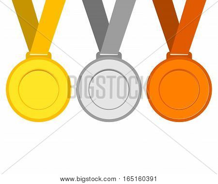 Gold, silver and bronze medals for the winners of the Champions. vector illustration, flat icons