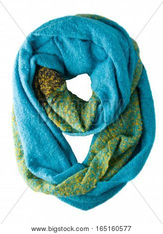 Scarf Isolated On White Background.scarf  Top View .blue Scarf With Yellow Accents .