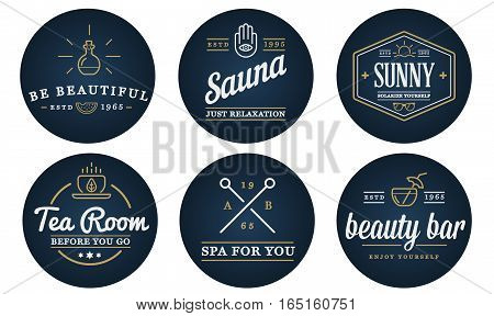 Set of Vector Spa Beauty Yoga Sport Elements Illustration can be used as Logo or Icon in premium quality