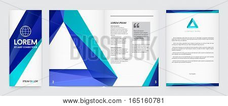 Set of Visual identity with letter logo elements polygonal style Letterhead and geometric triangular design style brochure cover template mockups for business with Fictitious names