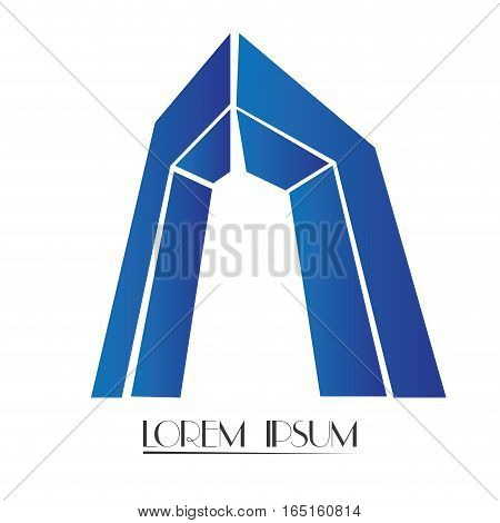 Isolated abstract building logo on a white background, Vector illustration