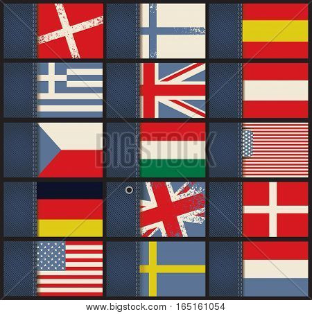 set of business cards from jeans fabric with flags of different countries