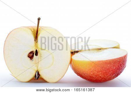 Wet, Sliced Apples Isolated On White Background