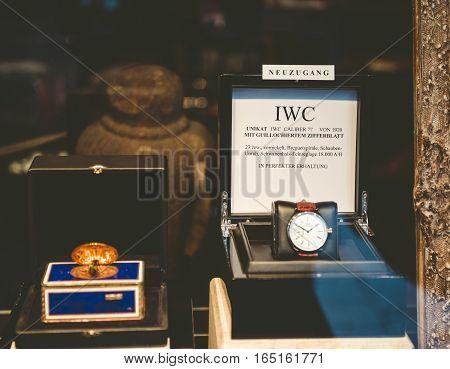 BADEN BADEN - GERMANY - NOV 20 2014: IWC luxury watch in the window of a store in Baden-Baden. International Watch Co. also known as IWC is a luxury Swiss watch manufacturer located in Schaffhausen Switzerland