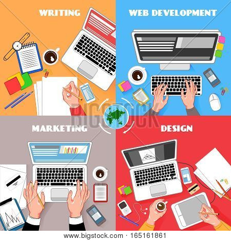 Coworking top view colorful square compositions set with office accesories laptops gadgets writing typing cartoon hands vector illustration
