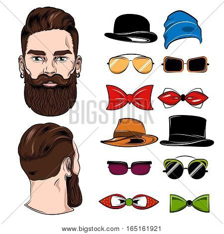 Man head back face accessories set with isolated images of glasses hats bowtie and head views vector illustration