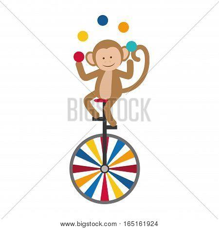 Circus monkey cartoon icon vector illustration graphic design
