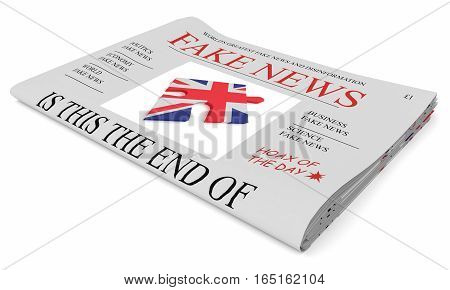 Fake News UK Concept: Newspaper Front Page 3d illustration on white background