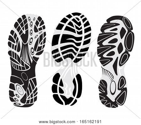 footprint sport shoes vector set  footmarks sneakers