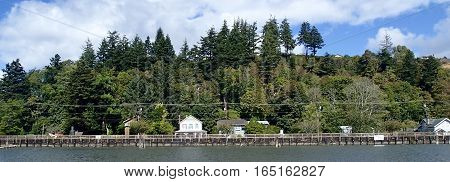 Quaint houses along a river in Washington state.
