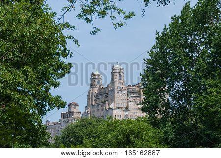 Manhattan towers emerging behind Central Park, New York